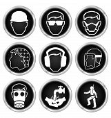 stock photo of ppe  - Black and white construction manufacturing and engineering health and safety related icon set isolated on white background - JPG
