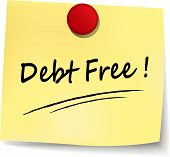 picture of debt free  - illustration of debt free note on white background - JPG
