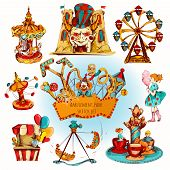 pic of amusement park rides  - Amusement kids entertainment park decorative icons colored set isolated vector illustration - JPG