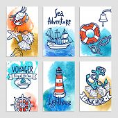 stock photo of nautical equipment  - Nautical cards set with hand drawn sea adventure elements isolated vector illustration - JPG