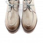 picture of lady boots  - lady leather shoes with shoelace gradient bown on white background - JPG