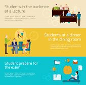 stock photo of exams  - Students horizontal banner set with lecture audience dining and exam elements isolated vector illustration - JPG