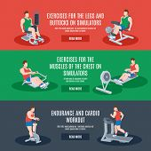 stock photo of cardio exercise  - Exercise machines set with legs chest buttocks endurance and cardio workout elements isolated vector illustration - JPG