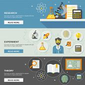 stock photo of experiments  - Science and research horizontal banner set with theory and experiment flat elements isolated vector illustration - JPG