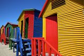 foto of beach hut  - Colorful beach huts at St James Beach in Cape Town - JPG