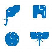 picture of elephant ear  - Vector illustration of a set of symbolic images of elephants - JPG