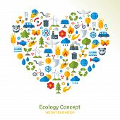 stock photo of save water  - Ecology flat icons arranged in heart - JPG