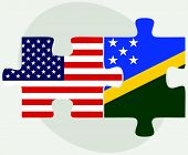 Постер, плакат: Usa And Solomon Islands Flags In Puzzle