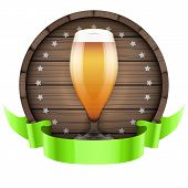 foto of keg  - Label Beer barrel keg with beer glass and ribbon - JPG