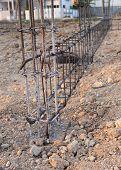 image of reinforcing  - reinforcing steel rods bars for building construction - JPG