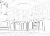 image of interior sketch  - Kitchen vector sketch interior - JPG