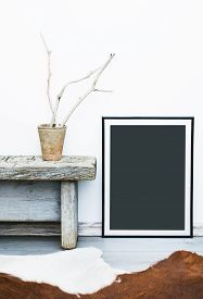 stock photo of paint pot  - Black frame with place for text - JPG