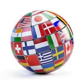 stock photo of flags world  - Flags of the world in globe isolated on white - JPG