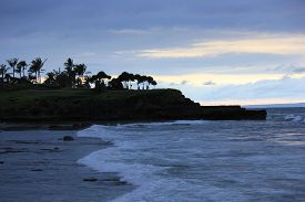 picture of tanah  - The amazing beach and sea from Tanah Lot Temple in Bali Indonesia at sunset time  - JPG