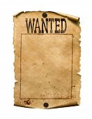 Wanted for reward poster 3d illustration isolated on white poster