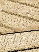 stock photo of chicken-wire  - Boardwalk with chicken wire for grip and safety - JPG