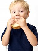 Boy Eating Peanut Butter Sandwich
