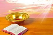 foto of tithe  - Offering plate on table with bible and bright background - JPG