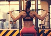 Athletic woman doing exercise for back, using machine, in gym - back view poster