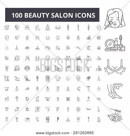 poster of Beauty Salon Editable Line Icons, 100 Vector Set, Collection. Beauty Salon Black Outline Illustratio