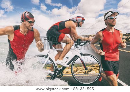 poster of Triathlon swim bike run triathlete man training for ironman race concept. Three pictures composite o