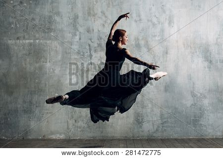 Ballerina Jump Young Beautiful Woman
