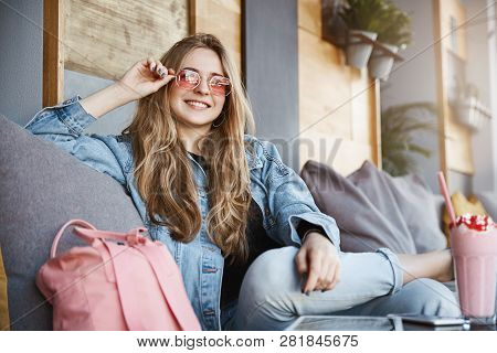 Attractive And Joyful Fairhaired Female