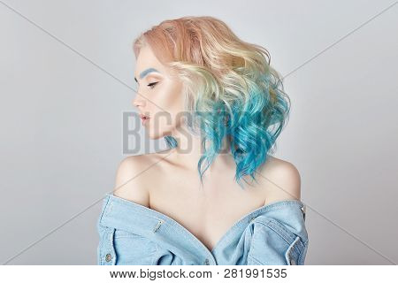 Portrait Woman With Bright Colored