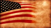 picture of usa flag  - Computer designed highly detailed grunge style illustration of waving USA flag - JPG