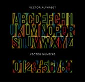 Colorful Letters And Numbers Set. Colored Vector Latin Alphabet. Rainbow Color Font. Geometrical Neo poster