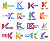 Corporate Identity Letter K Business Icons. Vector Gas And Medicine, Finance And Entertainment, Educ poster