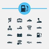 Automobile Icons Set With Fuel, Sports Automobile, Garage And Other Repairing Elements. Isolated  Il poster
