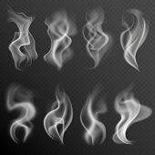 Realistic Smoke. White Food Steam Hookah Hot Tea Coffee Smoke Texture Isolated On Black Background poster