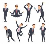 Businessman Emotions. Angry Kind Sweet Smiling Happy Satisfied Different Faces And Poses Of Office M poster