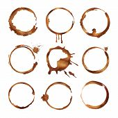 Coffee Cup Rings. Dirty Splashes And Drops Of Tea Or Coffee Vector Circle Shapes. Illustration Of Te poster