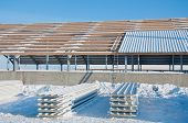 The Element Of The Roof Of The Sandwich Panels. Installation Of The Roof Of The Sandwich Panels On T poster