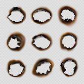 Burned Holes Paper. Grunge Designs Of Fire Damaged Circles Shapes Vector Pictures. Fire Burn Paper H poster