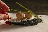Incredible Appetizer With Foie Gras, Appetizer On Black Bread poster