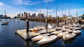 Harbor And Boat Spart In Boston City, Massachusetts, Usa, United States Of America poster