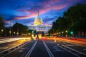 Capital Building In Washington Dc City At Night Wiht Street And Cityscape, Usa, United States Of Ama poster