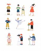 Children And Their Hobbies Set, Boys And Girls Playing Music, Dancing, Singing, Cooking Hobby, Educa poster