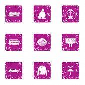 Rainy Weather Icons Set. Grunge Set Of 9 Rainy Weather Icons For Web Isolated On White Background poster