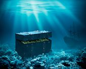 Treasures on the seabed. Sunken chest with gold and ship under water 3d illustration poster