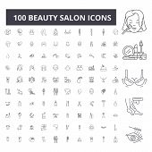 Beauty Salon Editable Line Icons, 100 Vector Set, Collection. Beauty Salon Black Outline Illustratio poster