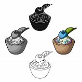 Vegetarian Dessert. For Vegetarians Ice Cream In A Chocolate Cup And Blueberry.vegetarian Dishes Sin poster