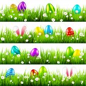 Easter Eggs On Grass With Bunny Rabbit Ears Set. Spring Holidays In April. Sunday Seasonal Celebrati poster