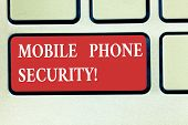 Word Writing Text Mobile Phone Security. Business Concept For Secure Data On Mobile Devices Wireless poster
