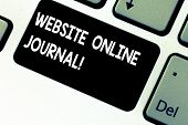 Conceptual Hand Writing Showing Website Online Journal. Business Photo Showcasing Periodical Publica poster