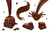 Set Of Vector Splashes And Drops Of Melted Dark Chocolate. Coffee, Cocoa, Liquid Hot Chocolate Flow  poster
