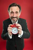 Time Is Merciless. Businessman Formal Suit Hold Alarm Clock. Deadline Concept. Last Minute. Time Man poster